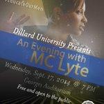 RT @BrassyBrownNOLA: #Neworleans #hiphop MC Lyte talks at Dillard U tonight 9/17, 7 pm, Georges Auditorium. http://t.co/3yFBKOomQy