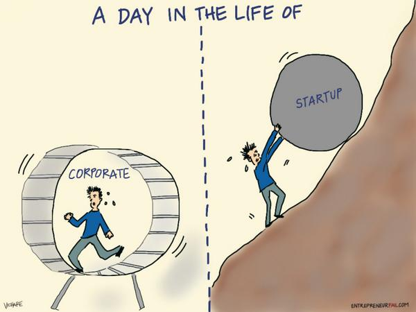 A Day in the Life of: Corporate vs Startup http://t.co/z0ZWWYjBJD http://t.co/rnZjx6IB05