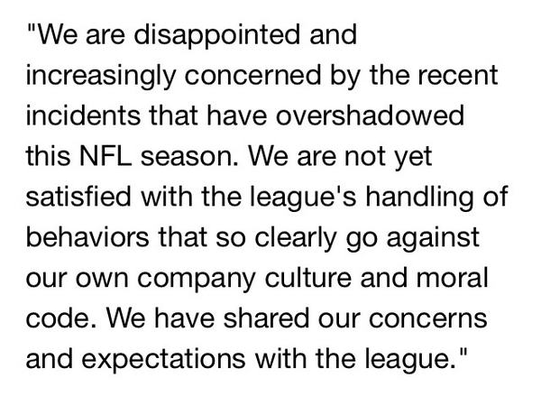 Lol ok, alcohol company. RT @darrenrovell: NFL beer sponsor, Anheuser-Busch, issues strong statement http://t.co/TCEbA4s5Q1