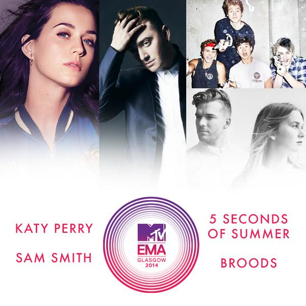 Congrats to @katyperry @samsmithworld @5SOS @broodsmusic on your @MTVEMA #EMA nods! Vote here: http://t.co/FWk0wP18Oa http://t.co/kQX43No7sE