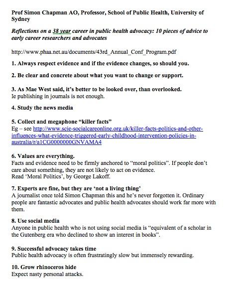 10 Lessons from an extraordinary career in #PublicHealth advocacy - from @SimonChapman6 at #PHAA2014 cc @SydneySPH http://t.co/9Vx58GneeC