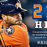 RT @astros: Congrats to @JoseAltuve27 for breaking the #Astros franchise record for hits in a season. #Altuve211 http://t.co/Bw1x48fW8s