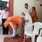 The Prime Minister seeking the blessings of his Mother. http://t.co/mB8TQb4OWr