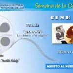 #SemanadelaDemocracia mañana @CNELoja en cine-foro habla de la #MujerenDemocracia #MatildeHidalgo @JuanPabloPozoB http://t.co/Y7956PvT1U