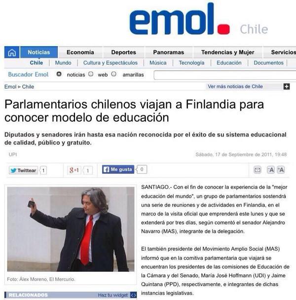 Parlamentarios chilenos fueron el 2011 a conocer la educación de Finlandia. Ahora van a revisar si sigue igual? http://t.co/nzoNAcUSIQ