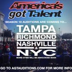 Wanna be on Season 10 of @NBCAGT?! Nashville! Tampa! NYC! Richmond! We're coming to you!