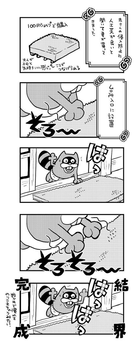 とよ田みのるさんが好きで、最近の赤さんが大好きで。それを参考に人工芝を買ったのが4月末。効果てき面だったのだけど、さっき突破されてた。トイレから帰ったら居る筈のない所で遊んでて。起きてる時、迂闊にお腹も壊せないな…(;´Д`A  http://t.co/v3ZwXQv9XY