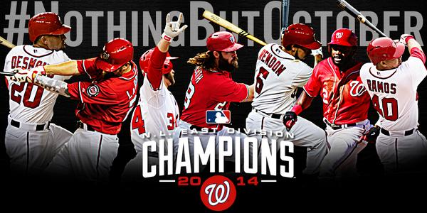 That's a final! The Washington Nationals are 2014 National League East Champions!!! #NothingButOctober http://t.co/cBKsylUe3L
