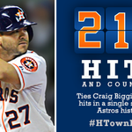 RT @astros: 210 hits! @JoseAltuve27 ties Craig Biggio for most hits in a single season in #Astros history. #HTownPride http://t.co/SOgSXnB687