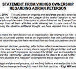 The #Vikings full statement announcing Adrian Peterson on the Exempt/Commissioner's Permission list http://t.co/7OGs8u1iI9