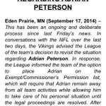 Vikings have 12:47 AM change of heart regarding Peterson. Hes now required to stay away from the team. Statement: http://t.co/dKDQURbkXG