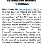 Vikings pull a Goodell, reversing decision under scrutiny. RT @AndrewSiciliano: Late night Adrian Peterson news. http://t.co/juw43ANL5T