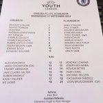 RT @chelseafc: Heres a team sheet from this afternoons game. Were underway in 10 minutes! #CFCU19 http://t.co/xB6ToZRw0s