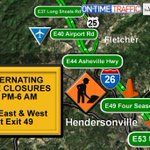 RIGHT NOW: Overnight bridge work in #Henderson Co. wrapping up. Lane closures through next week @WLOS_13 #wnctraffic http://t.co/CSS9VvLdWd
