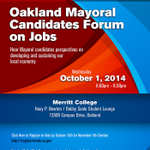 RT @CollegeAlameda: Oct. 1 #Oakland mayoral forum @ @MerrittCollege,6:30-8 pm. All 11 candidates have confirmed attendance! #Election2014 http://t.co/DvEshdCvGB