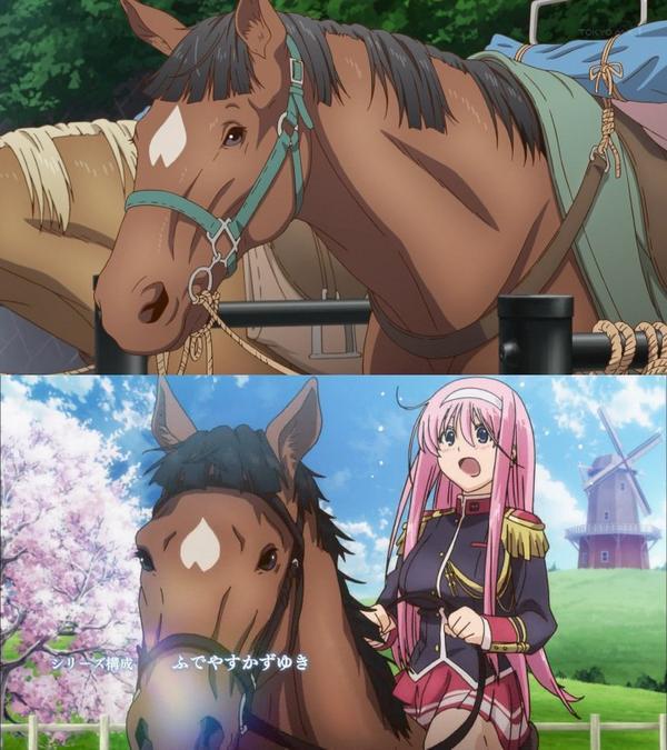 今日のヤマノススメに出てた馬がワルキューレロマンツェのサクラに似てるってコメントを見て確認したら、流星・たてがみの癖が全