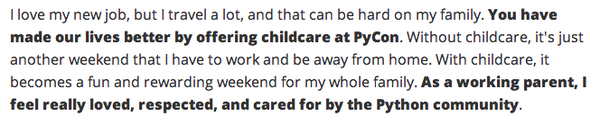 """""""As a working parent, I feel really loved, respected, and cared for by the Python community."""" https://t.co/1FLk8NJ17e http://t.co/VX6Ktnb80M"""