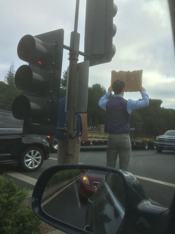 """So that's it. Two guys in ties on Sand Hill Road with """"Need Funding"""" signs. Time to close shop, burn it all down. http://t.co/tp9K1U3diz"""