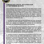Comunicado oficial de Ultras Sur http://t.co/9fNjKqRyLt