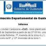 Manifestación @CUCGuatemala MAÑANA jue18-Sep desde 7AM, Obelisco z10 hacia z1 por z4 #traficogt vía @GobernacionGT http://t.co/WTOWt5hyBr