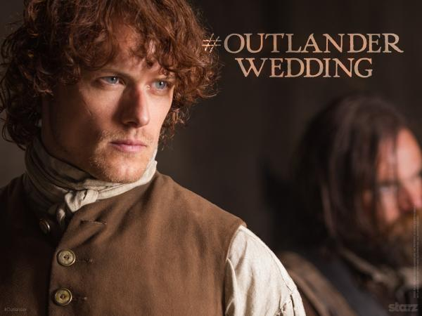Sam Heughan (@Heughan): This saturday!!!  (Hope he remembers the ring…)  9pm on @Outlander_Starz  #OutlanderWedding #outlander http://t.co/qh353m2bxf