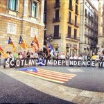 RT @kennethmac2000: #YesBecause 2nite in Barcelona, this happened #VoteYes #indyref @YesScotland @GenYes2014 @WeAreNational @CataloniaYes http://t.co/sMeHMV1SqL