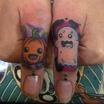 This lil ghost looks like he's trying to scare his pumpkin friend. See more pumpkin #tattoos> http://t.co/vvI6v9EWaq http://t.co/y7XXzxrKOP