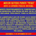 Marlon Puente #PIRULO Ante la Opinión Pública INFORMA: --> http://t.co/F14YKOYAPG