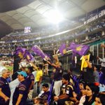 RT @KKRiders: Great end to the evening with #KorboLorboJeetbo ringing in the air & excitement for a #KKR @clt20 victory everywhere! http://t.co/bpPZnR6MSw