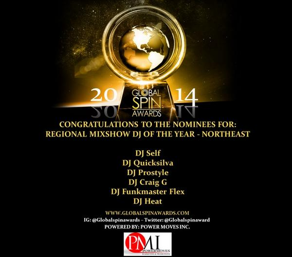 "Big shouts to the @globalspinaward for being nominated for ""Northeast Mixshow DJ Of The Year"" this year! http://t.co/1WDuvupu8x"