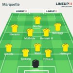 RT @marquettesoccer: MU starters vs. Milwaukee: Lyon; Alberts, Sjoberg, Pothast, Hermsen; Wahl, McBride, LB II; Navarro, Selvaggi, Nortey http://t.co/O1U7I1gvMy
