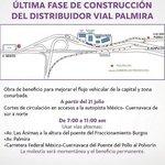 Debido a obras en el Distribuidor Vial Palmira habrá cortes de circulación, favor atender recomendaciones. #Morelos http://t.co/KlbLdnQ6bP