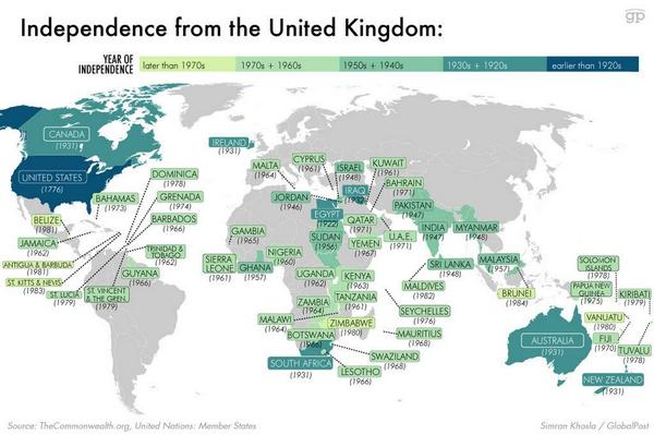 A map of all the countries that declared independence from the United Kingdom. [Quite a speckled world!] http://t.co/iCuWzpTjGR
