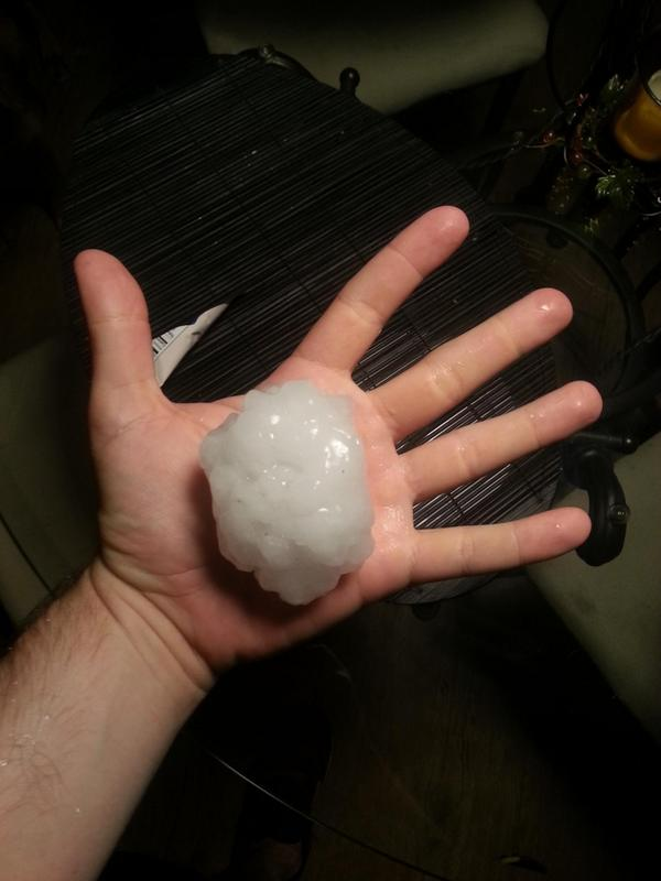 Chris in Denton just sent us this photo of hail that fell there. DF #dfwwx #txwx http://t.co/FqnRpR1Sya