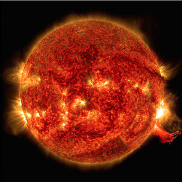 Today's flare - the burst of light on lower right - and eruption of solar material just below. http://t.co/kgyJa0hp7a http://t.co/0tuEXAbmMg