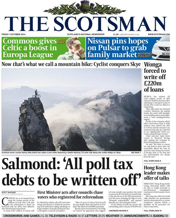 "Whaaat!! ""@miketually: Danny Macaskill on the front page of tomorrow's Scotsman: http://t.co/Z5MviaTHeL"""