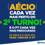 É Aécio 45 no 2 turno! Só Aécio para VENCER o PT. #MudaBrasil http://t.co/FKsXnb5UZw