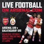 Before the big game be sure to tune in to http://t.co/BsOjWQyUIR for the @Arsenal U-19s vs Galatasaray at 2pm UK time http://t.co/PXRcCoTryH