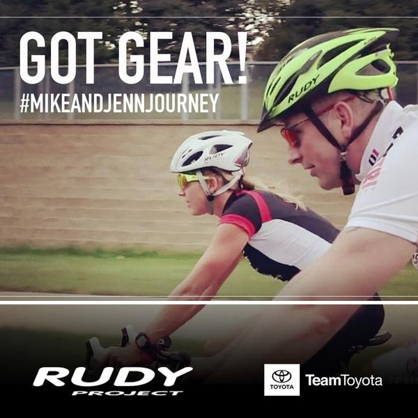 Thanks @RudyProjectNA! Get your own Rudy Project gear at http://t.co/DL8mkAPCou #MikeandJennJourney @TeamToyota http://t.co/RntlORK1bv