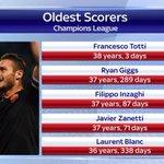 RT @ManUtdMaster: Los jugadores más veteranos en anotar en la Champions League. Totti ha superado a Giggs en Manchester, precisamente. http://t.co/phN6uN960g