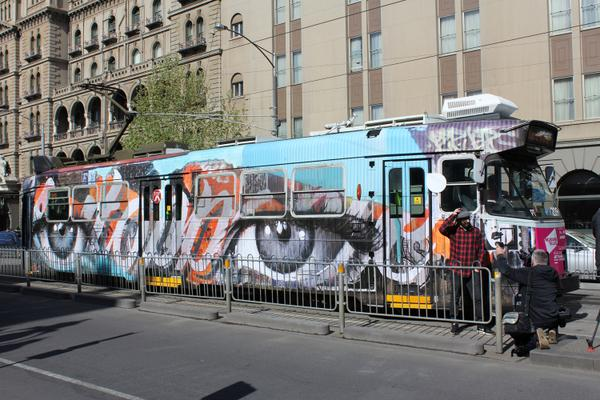 Introducing... the first of our 2014 #arttrams, by Rone. http://t.co/Xv2uEV9yi4 #melbfest @yarratrams @ArtsVictoria http://t.co/KQqXolSD52