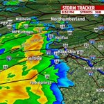 RT @fox43: Strong T-Storms moving east at 10mph. 30 to 40mph wind gusts, pea size hail & frequent cloud to ground lightning. http://t.co/dhsyDGlAmO