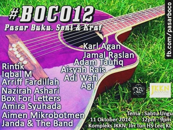 @pasarboco poster sudah keluar untuk #Boco12 @IQBALMrasmi @boxforletters @adiwafi @krlagn @nazirahashari http://t.co/ilV4VDB2Gs