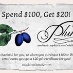 Spend $100 in gift certificates and receive a $20 gift card for yourself at Plum! @DowntownLeth #yql #yqlfood http://t.co/WoA6lRWdaY