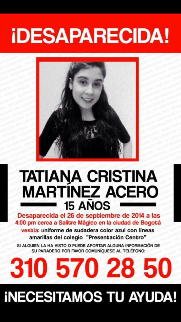 #Tatiana: estamos orando para q regreses a casa a salvo. #Favor ayudar a difundir esta foto. http://t.co/IVx2x2n5lZ