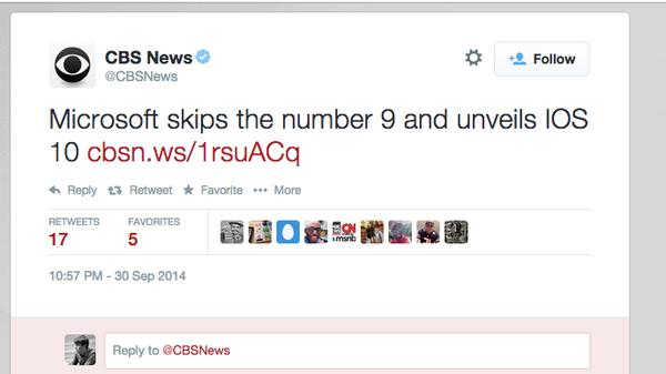 """@bdsams: CBS News: Microsoft announces iOS 10. http://t.co/K5GsPAwIYo"" hahahaha"