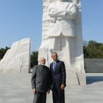RT @MIB_India: PM Shri @narendramodi & the US President, Mr. @BarackObama at Martin Luther King memorial, in Washington DC. http://t.co/tH7Ub5QiNt