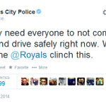 Kansas Citys police department is really invested in tonights Royals game. http://t.co/IjMkMeCrk0