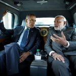 Great pic but cmon Barack. Quit eyeballing the man and smile MT @DeshGujarat Modi and Obama en-route to MLK memorial http://t.co/p7TPiU4BiF