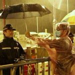 Great pic from last nights storm - HK protests providing the worlds politest and cleanest. http://t.co/AQ649iXhZa